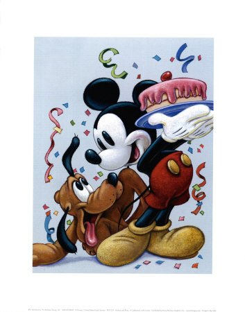 Dinsey'sMickey and Pluto: a Celebration with Friends -Premium Giclee Print